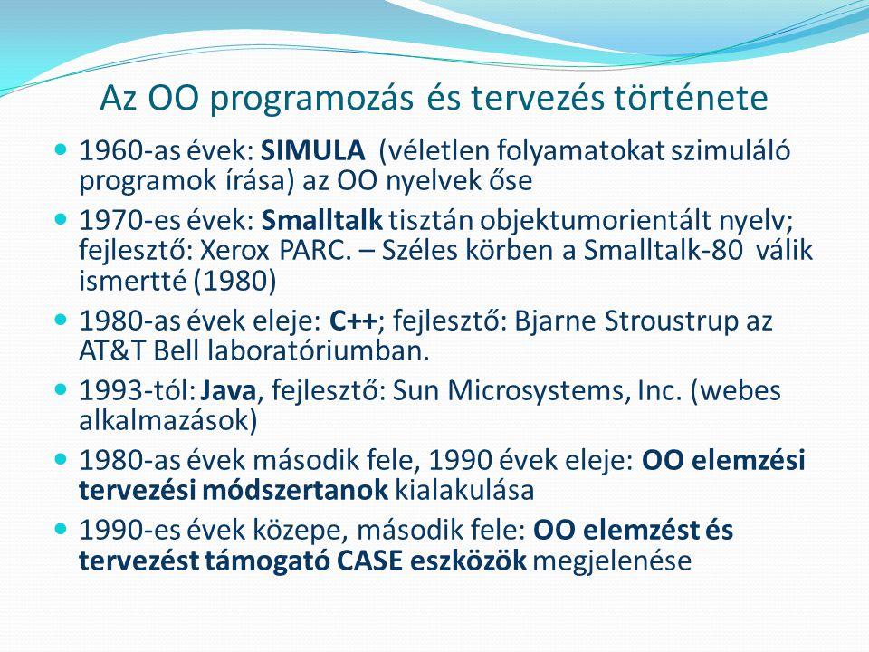 Az OO programozás és tervezés története 1960-as évek: SIMULA (véletlen folyamatokat szimuláló programok írása) az OO nyelvek őse 1970-es évek: Smallta