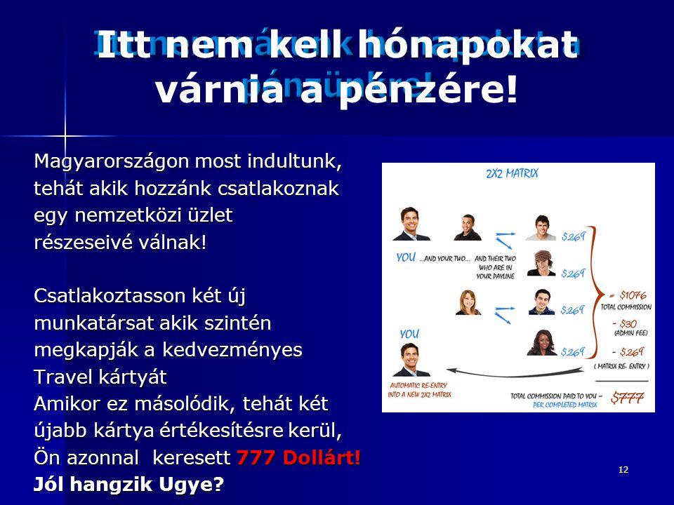12 Magyarországon most indultunk, tehát akik hozzánk csatlakoznak egy nemzetközi üzlet részeseivé válnak.