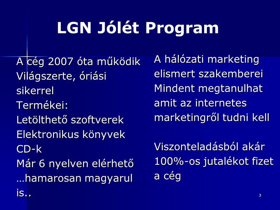 3 A cég 2007 óta működik Világszerte, óriási sikerrelTermékei: Letölthető szoftverek Elektronikus könyvek CD-k Már 6 nyelven elérhető …hamarosan magyarul is..