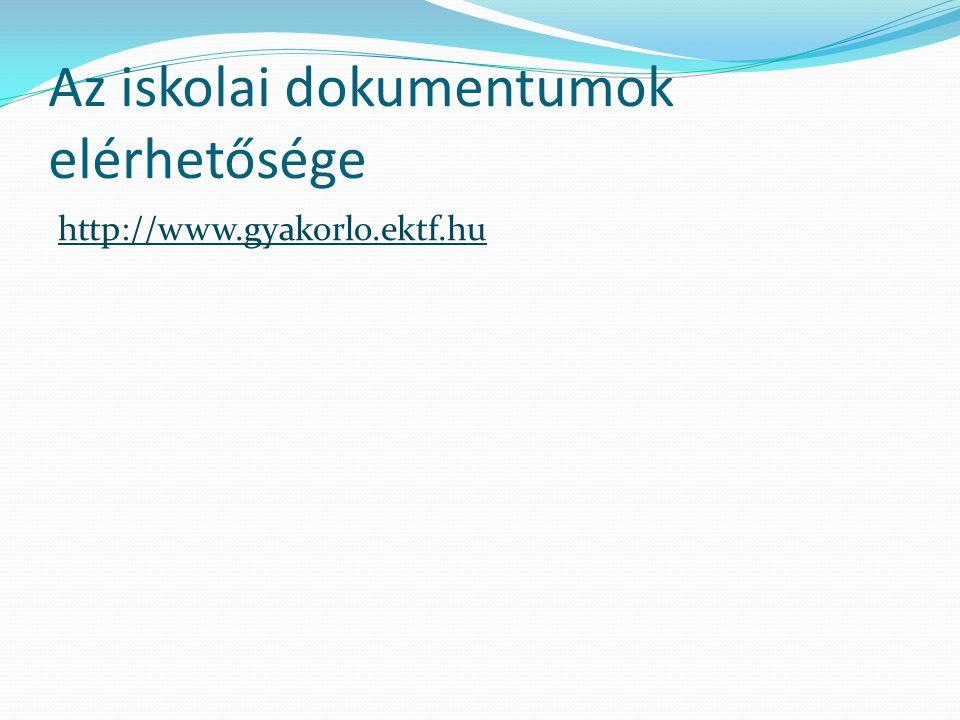 Az iskolai dokumentumok elérhetősége http://www.gyakorlo.ektf.hu