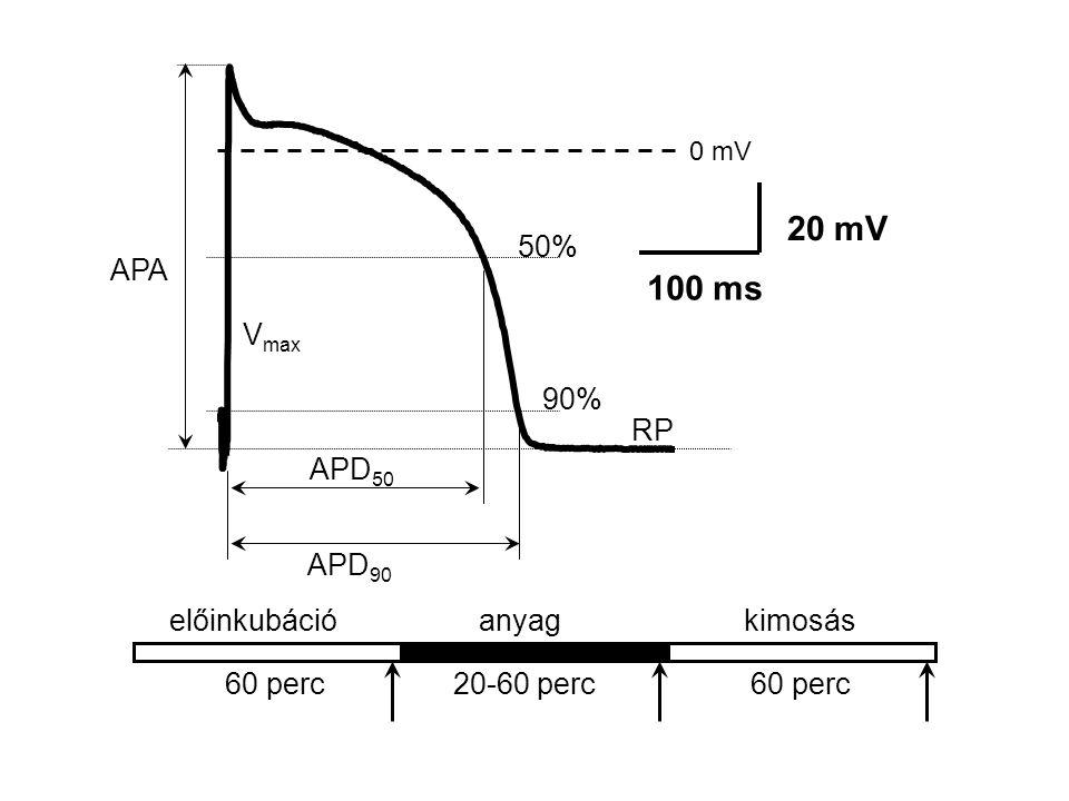 anyag 60 perc20-60 perc60 perc 0 mV 20 mV 100 ms APA RP APD 50 APD 90 90% 50% V max kimosáselőinkubáció