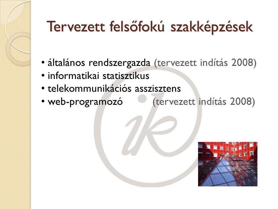 Tervezett felsőfokú szakképzések általános rendszergazda (tervezett indítás 2008) informatikai statisztikus telekommunikációs asszisztens web-programozó(tervezett indítás 2008)