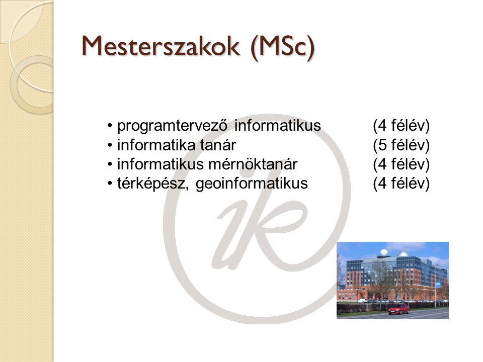 Mesterszakok (MSc) programtervező informatikus (4 félév) informatika tanár (5 félév) informatikus mérnöktanár (4 félév) térképész, geoinformatikus (4 félév)