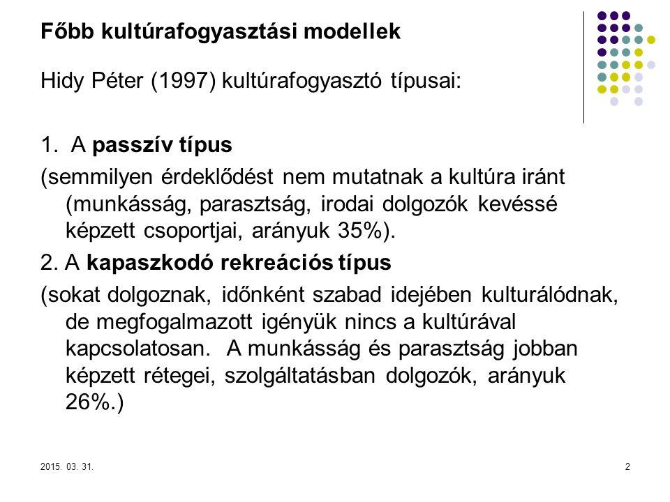 Főbb kultúrafogyasztási modellek Hidy Péter (1997) kultúrafogyasztó típusai: 1.