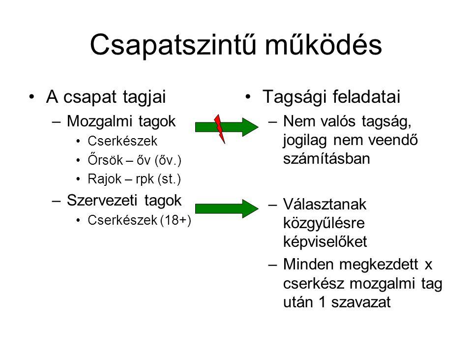 Kerületi közgyűlés Csapatok küldöttei –Évente egyszer gyűlnek –Döntenek A kerületi választmányról A kerületi elnökségről Orsz.
