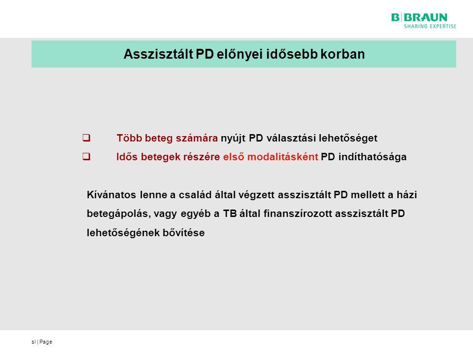 sl | Page  Több beteg számára nyújt PD választási lehetőséget  Idős betegek részére első modalitásként PD indíthatósága Kívánatos lenne a család által végzett asszisztált PD mellett a házi betegápolás, vagy egyéb a TB által finanszírozott asszisztált PD lehetőségének bővítése Asszisztált PD előnyei idősebb korban