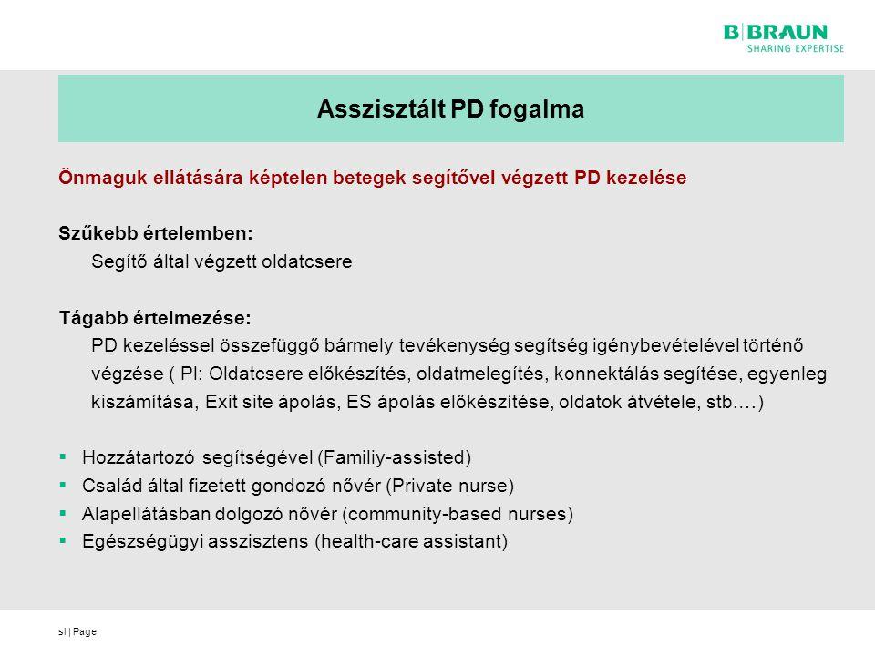 sl | Page Asszisztált PD fogalma Önmaguk ellátására képtelen betegek segítővel végzett PD kezelése Szűkebb értelemben: Segítő által végzett oldatcsere Tágabb értelmezése: PD kezeléssel összefüggő bármely tevékenység segítség igénybevételével történő végzése ( Pl: Oldatcsere előkészítés, oldatmelegítés, konnektálás segítése, egyenleg kiszámítása, Exit site ápolás, ES ápolás előkészítése, oldatok átvétele, stb.…)  Hozzátartozó segítségével (Familiy-assisted)  Család által fizetett gondozó nővér (Private nurse)  Alapellátásban dolgozó nővér (community-based nurses)  Egészségügyi asszisztens (health-care assistant)