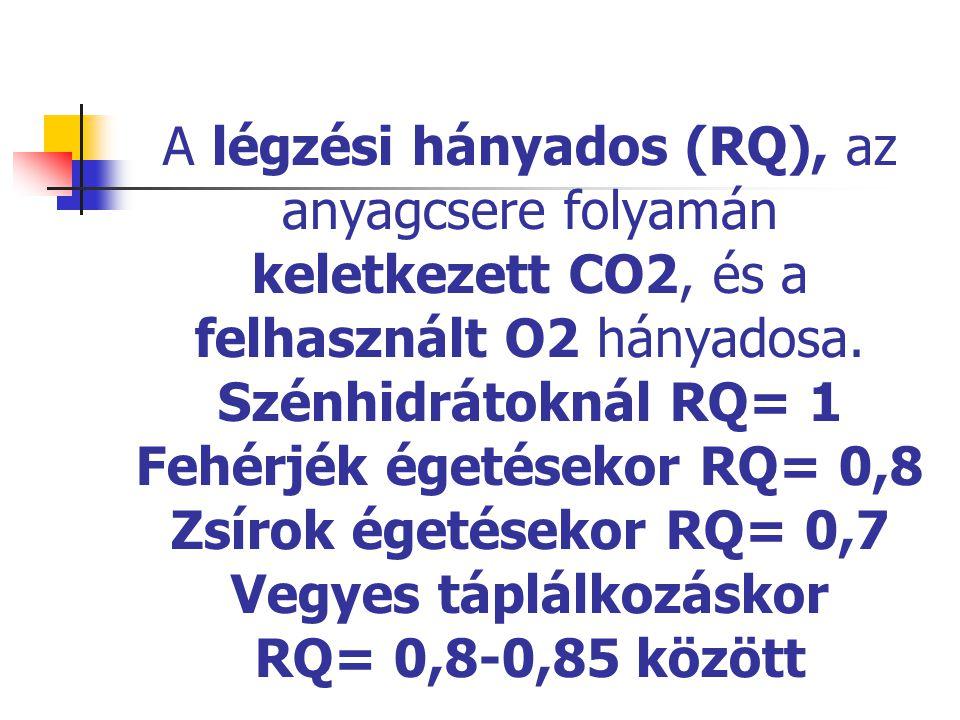 A légzési hányados (RQ), az anyagcsere folyamán keletkezett CO2, és a felhasznált O2 hányadosa. Szénhidrátoknál RQ= 1 Fehérjék égetésekor RQ= 0,8 Zsír