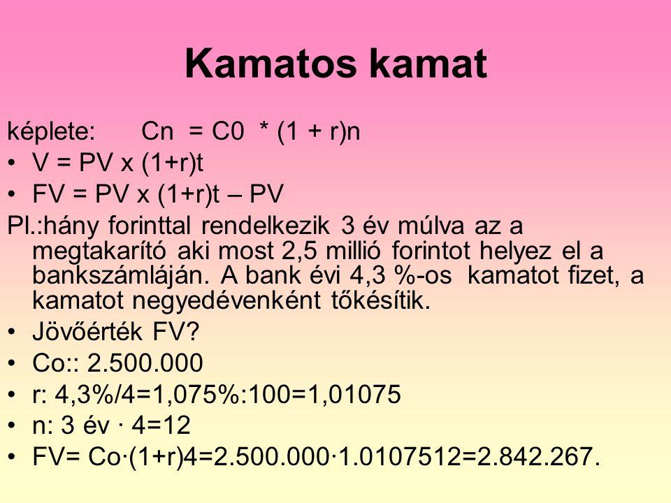 Vegyes kamatozás Képlet: C n+1 = Co (1 + k) n.(1 + t.