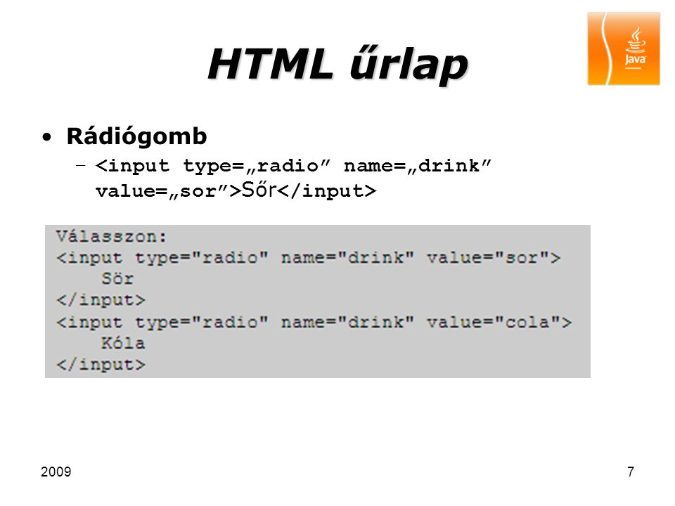 20097 HTML űrlap Rádiógomb – Sőr