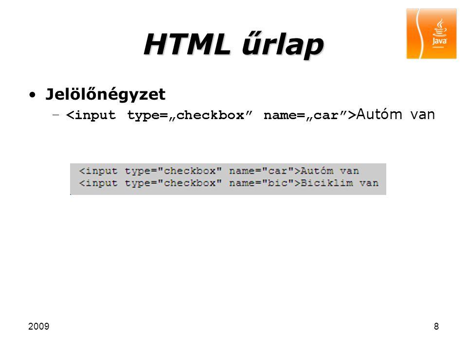 20098 HTML űrlap Jelölőnégyzet – Autóm van