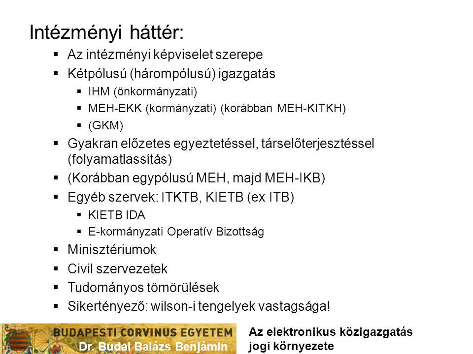 Intézményi háttér:  Az intézményi képviselet szerepe  Kétpólusú (hárompólusú) igazgatás  IHM (önkormányzati)  MEH-EKK (kormányzati) (korábban MEH-