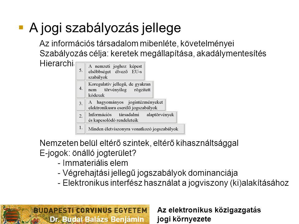  A jogi szabályozás jellege Dr. Budai Balázs Benjámin Az elektronikus közigazgatás jogi környezete Az információs társadalom mibenléte, követelményei