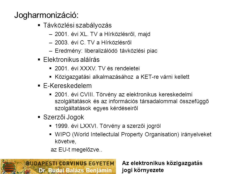 Jogharmonizáció:  Távközlési szabályozás –2001. évi XL. TV a Hírközlésről, majd –2003. évi C. TV a Hírközlésről –Eredmény: liberalizálódó távközlési
