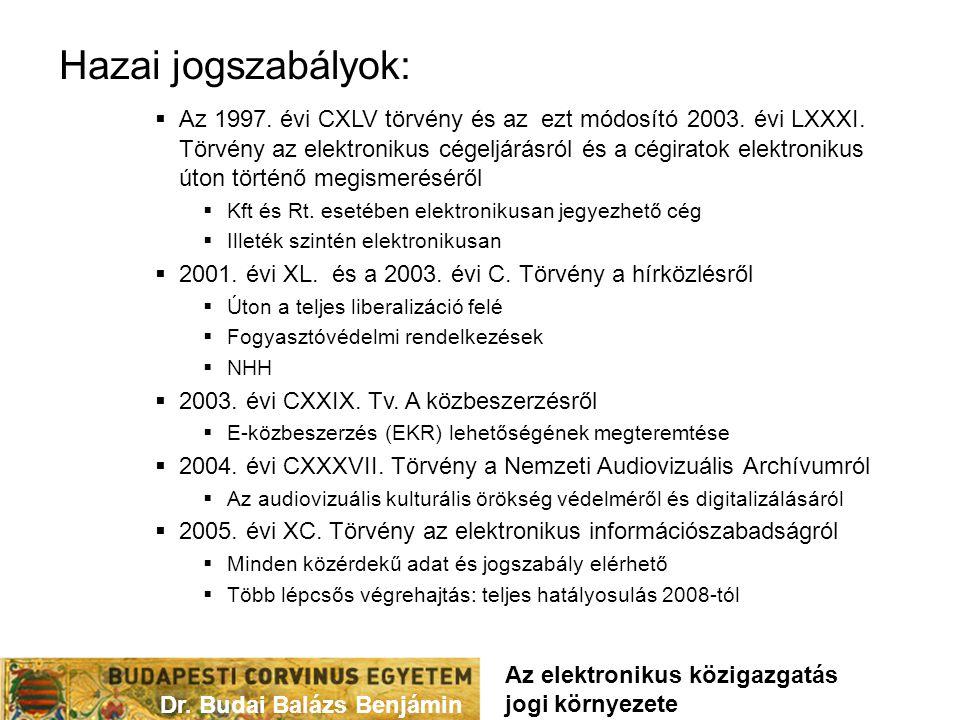 Hazai jogszabályok:  Az 1997. évi CXLV törvény és az ezt módosító 2003. évi LXXXI. Törvény az elektronikus cégeljárásról és a cégiratok elektronikus