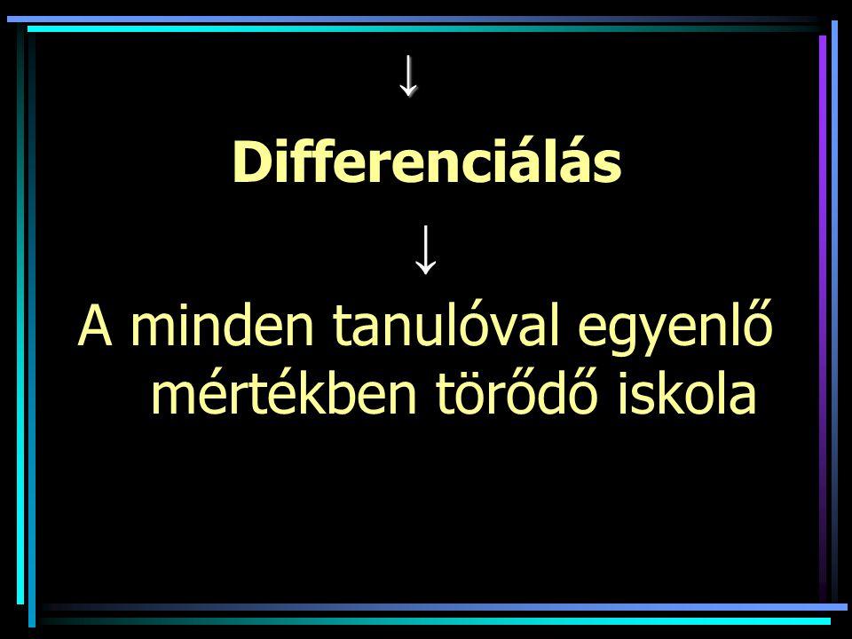 ↓ Differenciálás ↓ A minden tanulóval egyenlő mértékben törődő iskola