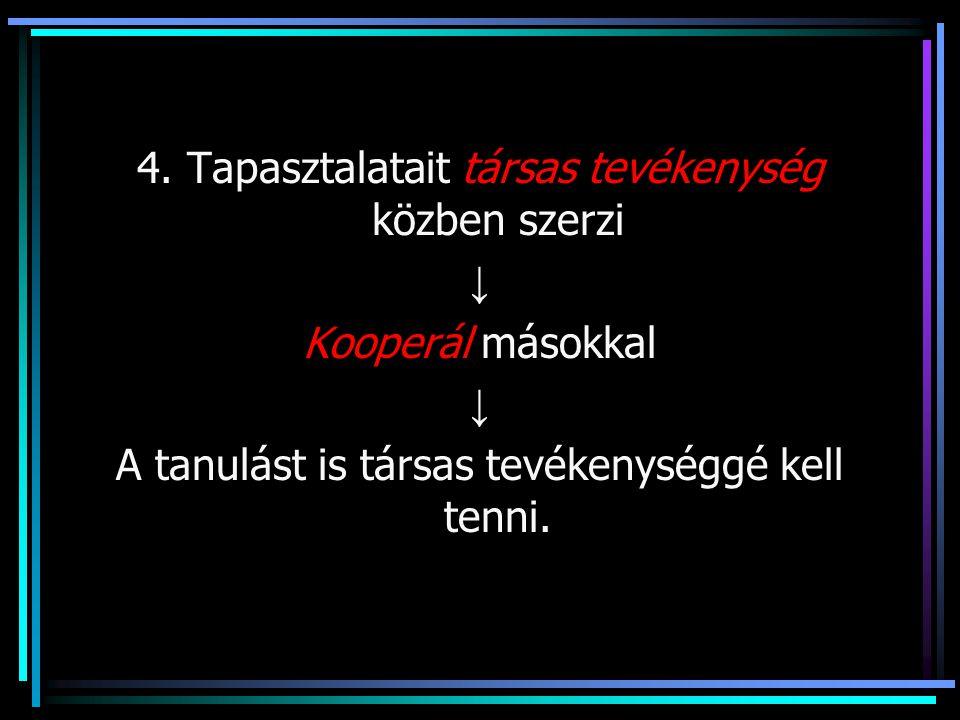 4. Tapasztalatait társas tevékenység közben szerzi ↓ Kooperál másokkal ↓ A tanulást is társas tevékenységgé kell tenni.