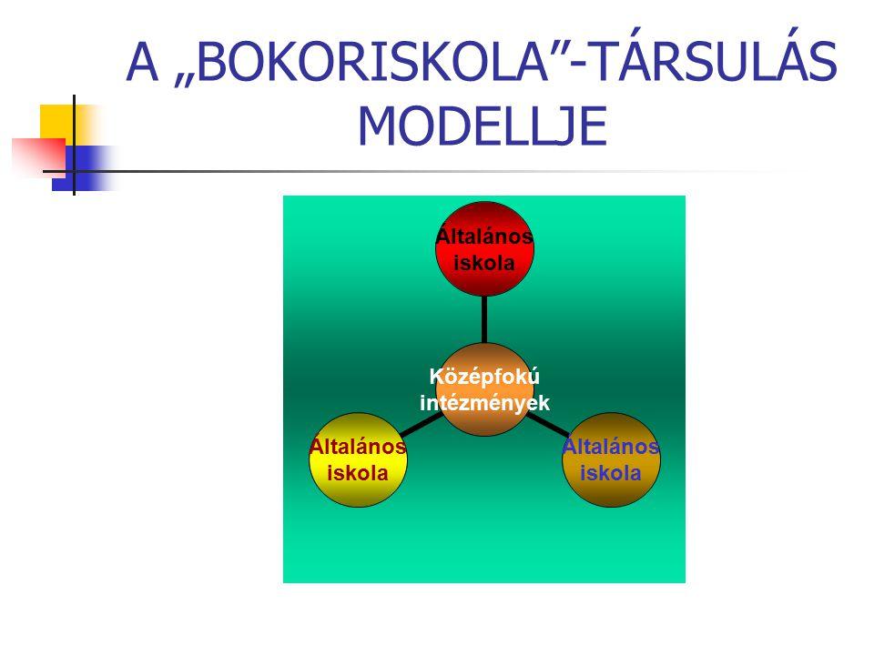 """A """"BOKORISKOLA""""-TÁRSULÁS MODELLJE Középfokú intézmények Általános iskola Általános iskola Általános iskola"""