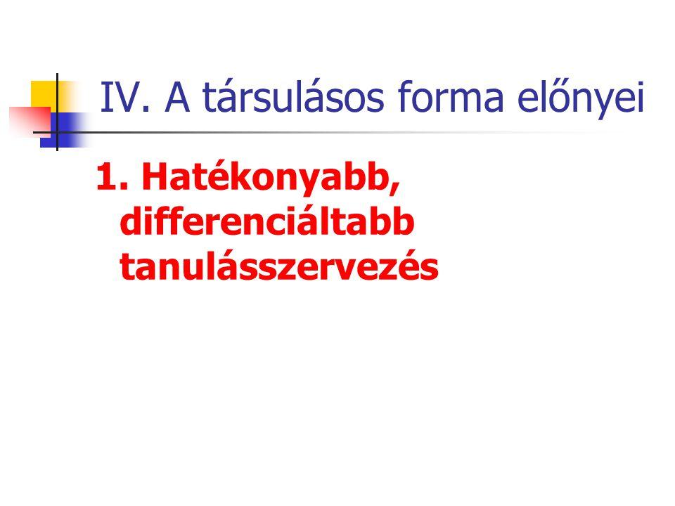 IV. A társulásos forma előnyei 1. Hatékonyabb, differenciáltabb tanulásszervezés