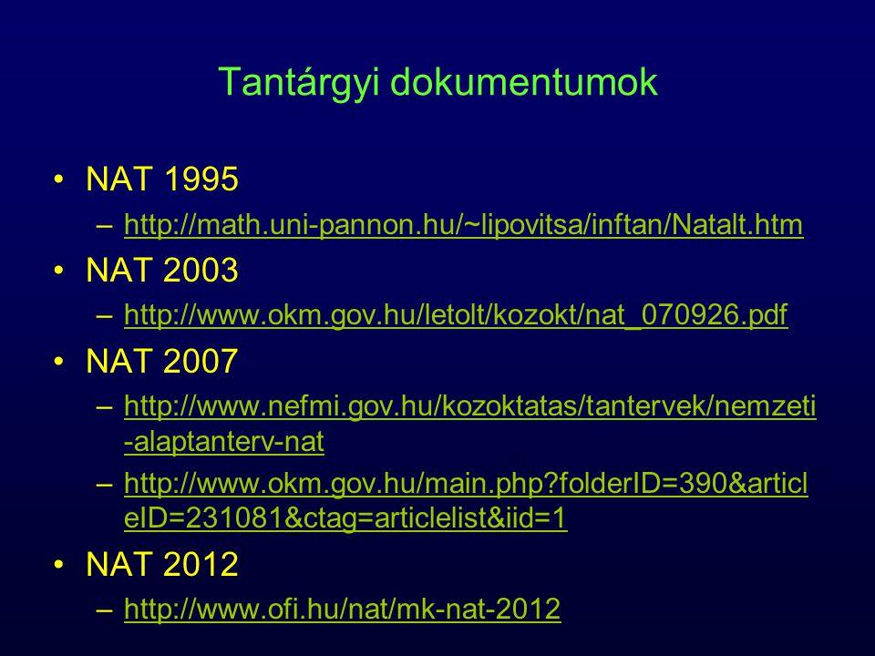 Tantárgyi dokumentumok NAT 1995 –http://math.uni-pannon.hu/~lipovitsa/inftan/Natalt.htmhttp://math.uni-pannon.hu/~lipovitsa/inftan/Natalt.htm NAT 2003