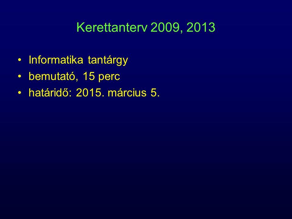 Kerettanterv 2009, 2013 Informatika tantárgy bemutató, 15 perc határidő: 2015. március 5.