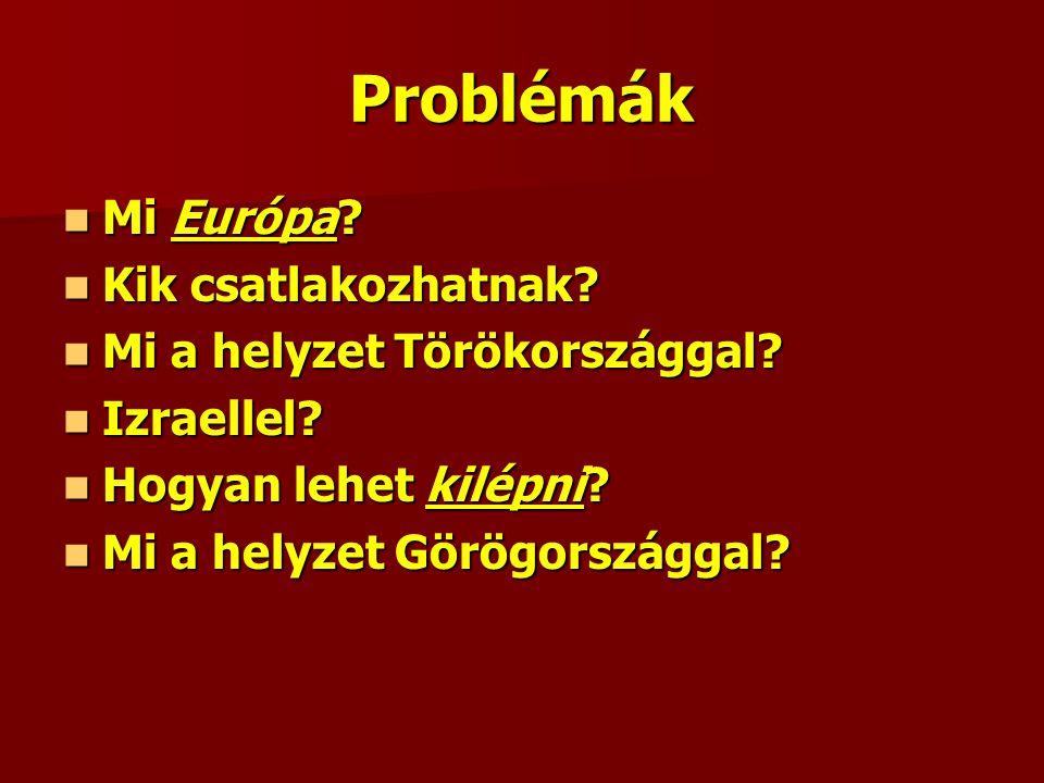 Problémák Mi Európa. Mi Európa. Kik csatlakozhatnak.