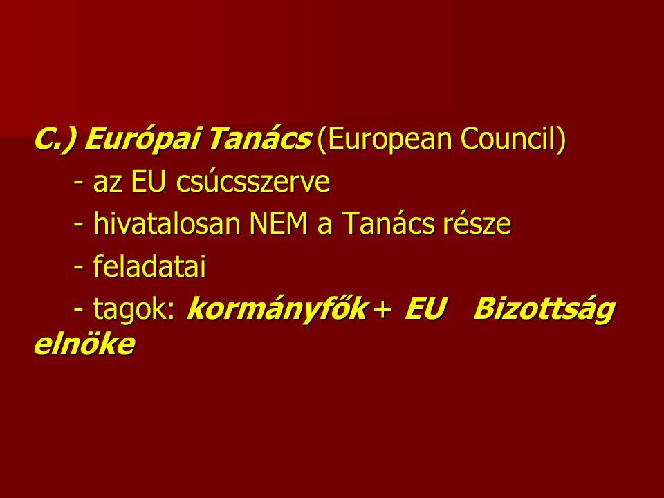 C.) Európai Tanács (European Council) - az EU csúcsszerve - hivatalosan NEM a Tanács része - feladatai - tagok: kormányfők + EU Bizottság elnöke