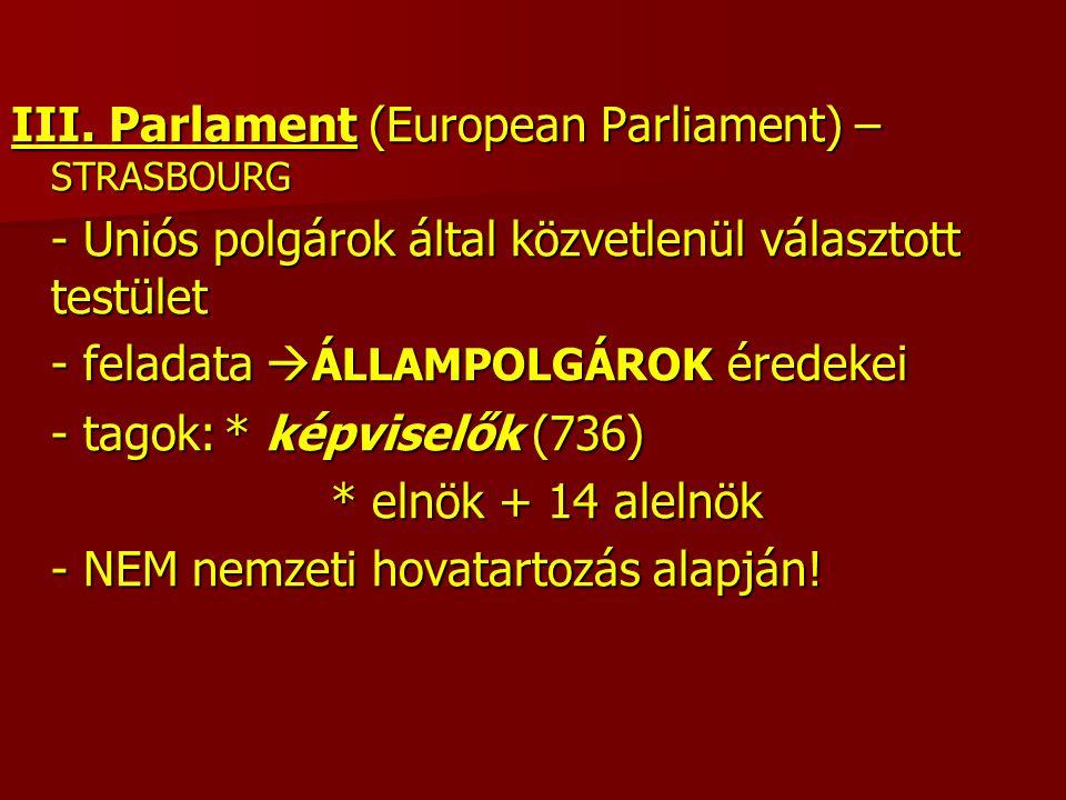 III. Parlament (European Parliament) – STRASBOURG - Uniós polgárok által közvetlenül választott testület - feladata  ÁLLAMPOLGÁROK éredekei - tagok:*