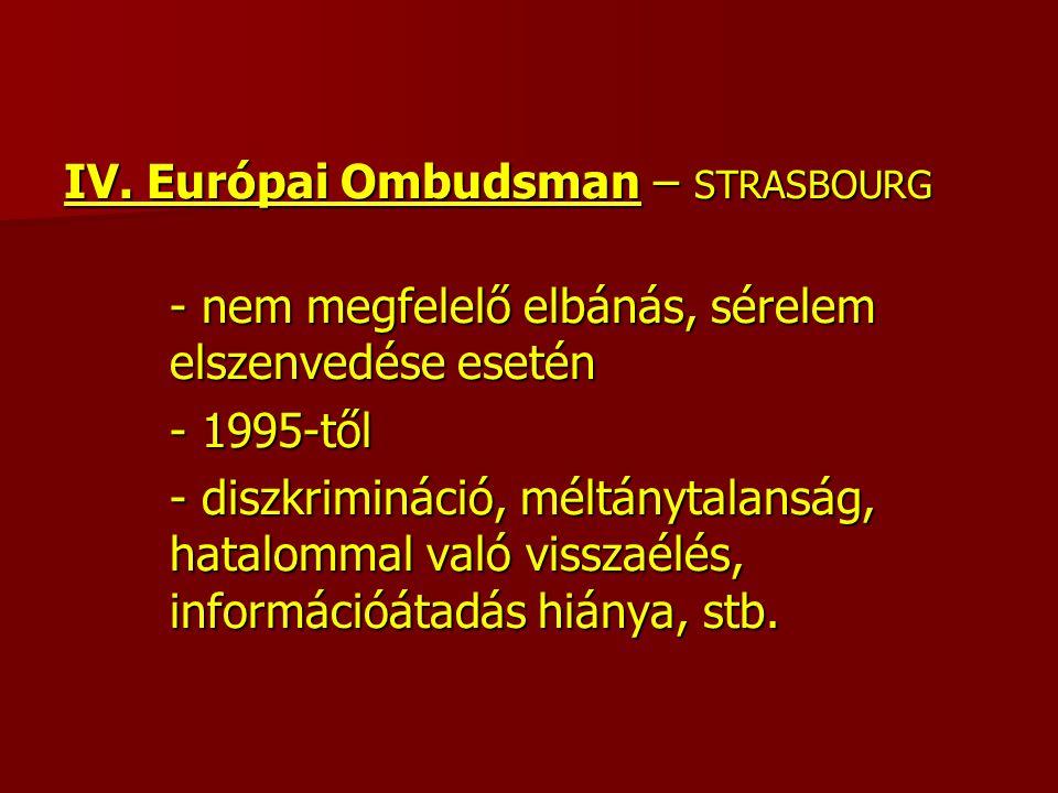 IV. Európai Ombudsman – STRASBOURG - nem megfelelő elbánás, sérelem elszenvedése esetén - 1995-től - diszkrimináció, méltánytalanság, hatalommal való