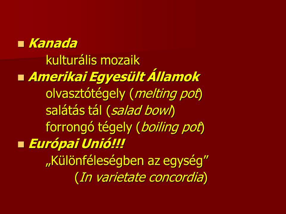 Kanada Kanada kulturális mozaik Amerikai Egyesült Államok Amerikai Egyesült Államok olvasztótégely (melting pot) salátás tál (salad bowl) forrongó tégely (boiling pot) Európai Unió!!.