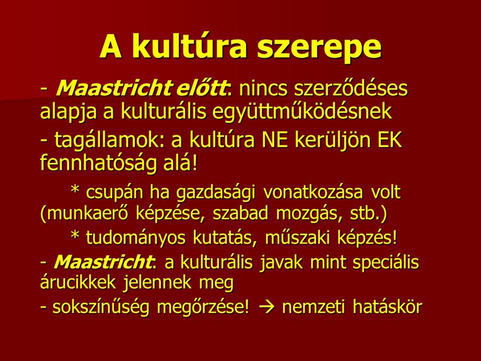 A kultúra szerepe - Maastricht előtt: nincs szerződéses alapja a kulturális együttműködésnek - tagállamok: a kultúra NE kerüljön EK fennhatóság alá.
