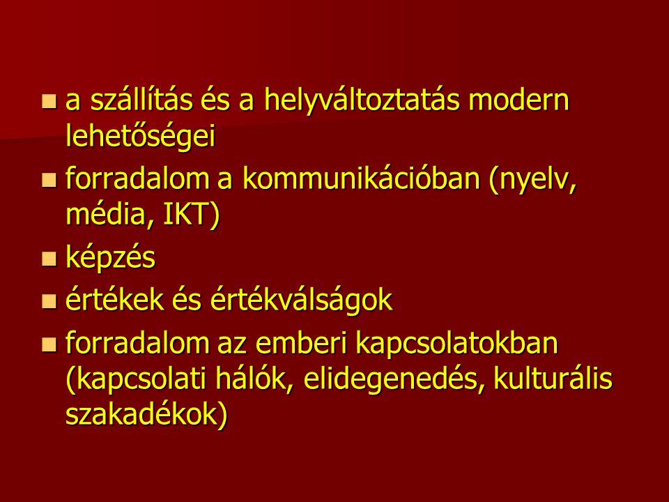 a szállítás és a helyváltoztatás modern lehetőségei a szállítás és a helyváltoztatás modern lehetőségei forradalom a kommunikációban (nyelv, média, IKT) forradalom a kommunikációban (nyelv, média, IKT) képzés képzés értékek és értékválságok értékek és értékválságok forradalom az emberi kapcsolatokban (kapcsolati hálók, elidegenedés, kulturális szakadékok) forradalom az emberi kapcsolatokban (kapcsolati hálók, elidegenedés, kulturális szakadékok)