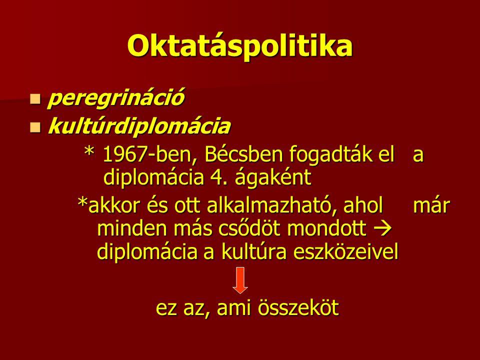 Oktatáspolitika peregrináció peregrináció kultúrdiplomácia kultúrdiplomácia * 1967-ben, Bécsben fogadták el a diplomácia 4.