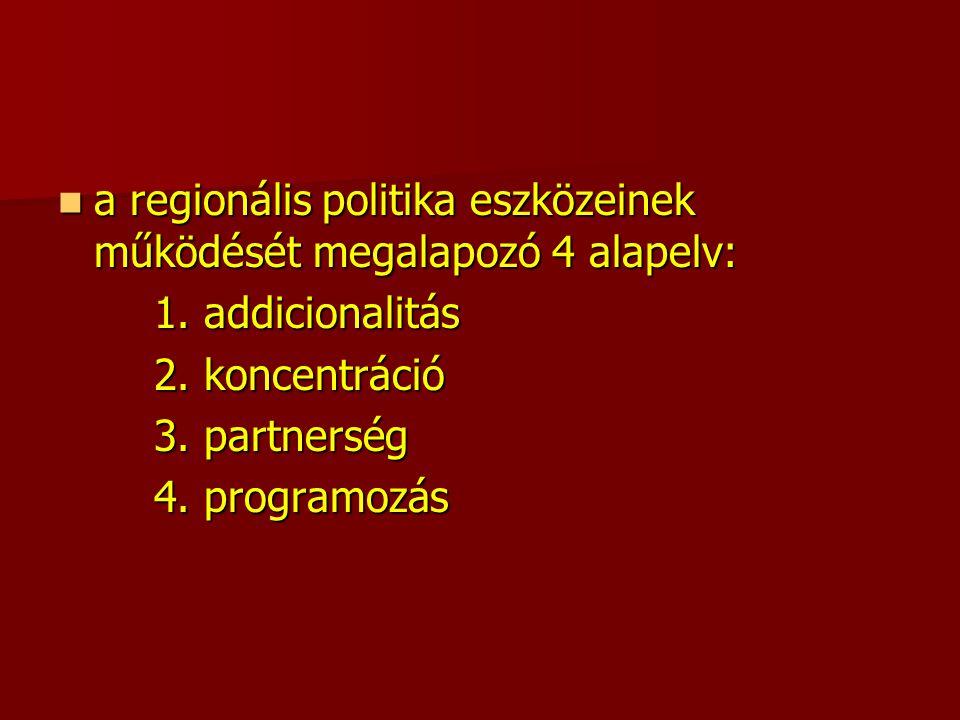 a regionális politika eszközeinek működését megalapozó 4 alapelv: a regionális politika eszközeinek működését megalapozó 4 alapelv: 1.