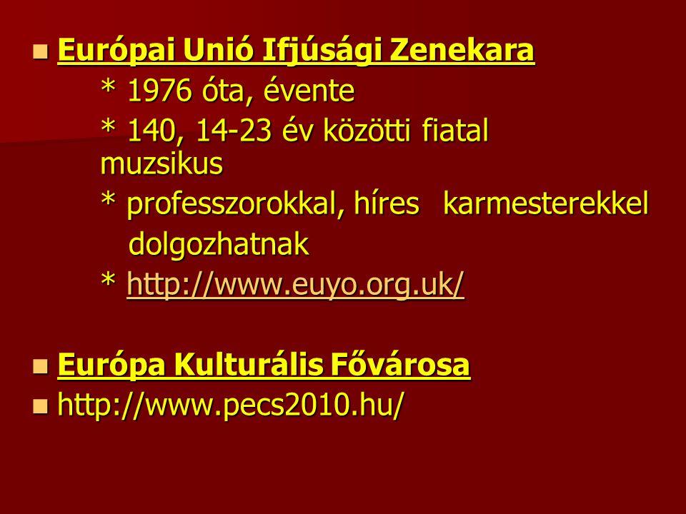 Európai Unió Ifjúsági Zenekara Európai Unió Ifjúsági Zenekara * 1976 óta, évente * 140, 14-23 év közötti fiatal muzsikus * professzorokkal, híres karmesterekkel dolgozhatnak dolgozhatnak * http://www.euyo.org.uk/ http://www.euyo.org.uk/ Európa Kulturális Fővárosa Európa Kulturális Fővárosa http://www.pecs2010.hu/ http://www.pecs2010.hu/