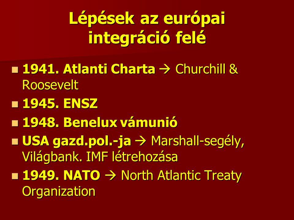 Lépések az európai integráció felé 1941. Atlanti Charta  Churchill & Roosevelt 1941.