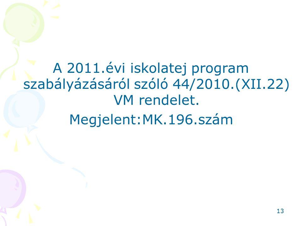 13 A 2011.évi iskolatej program szabályázásáról szóló 44/2010.(XII.22) VM rendelet. Megjelent:MK.196.szám