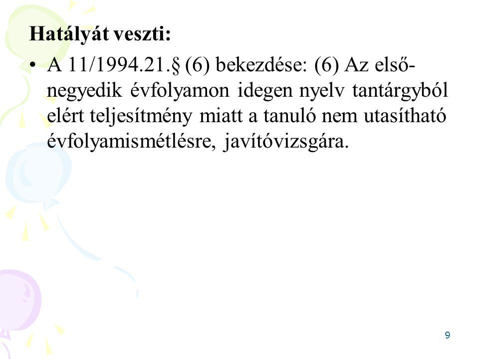 9 Hatályát veszti: A 11/1994.21.§ (6) bekezdése: (6) Az első- negyedik évfolyamon idegen nyelv tantárgyból elért teljesítmény miatt a tanuló nem utasí