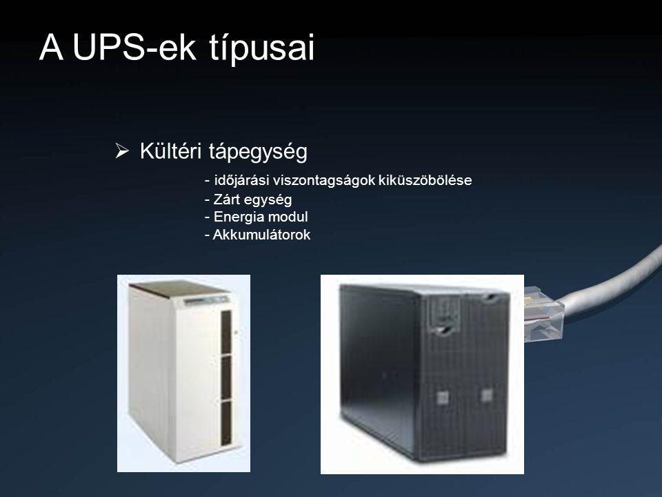 A UPS-ek típusai  Kültéri tápegység - időjárási viszontagságok kiküszöbölése - Zárt egység - Energia modul - Akkumulátorok