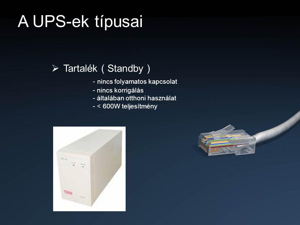 A UPS-ek típusai  Tartalék ( Standby ) - nincs folyamatos kapcsolat - nincs korrigálás - általában otthoni használat - < 600W teljesítmény