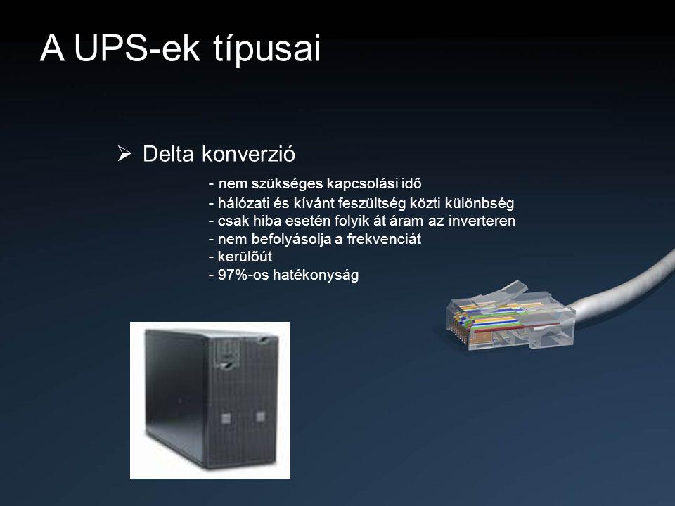 A UPS-ek típusai  Delta konverzió - nem szükséges kapcsolási idő - hálózati és kívánt feszültség közti különbség - csak hiba esetén folyik át áram az
