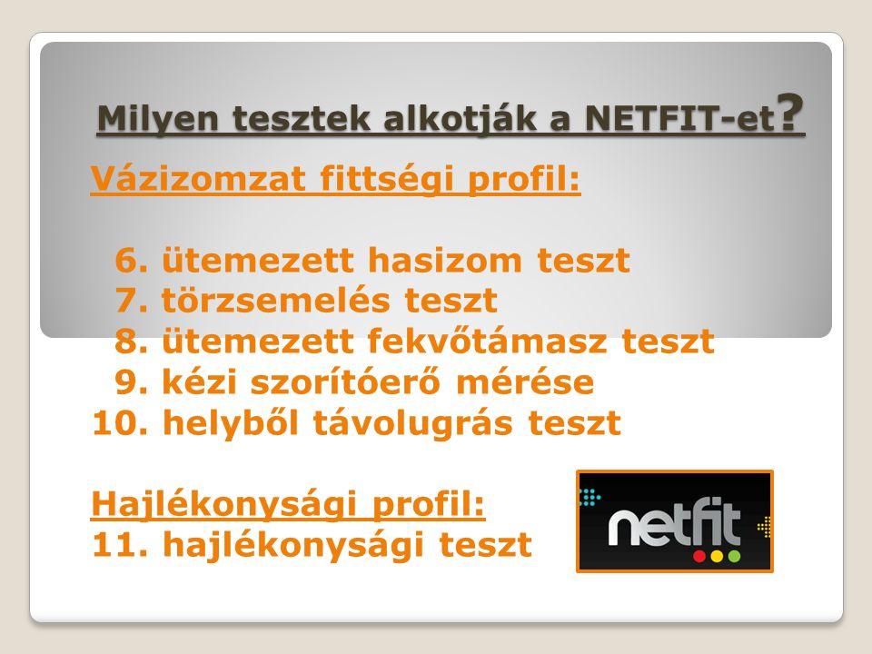 Milyen tesztek alkotják a NETFIT-et ? Vázizomzat fittségi profil: 6. ütemezett hasizom teszt 7. törzsemelés teszt 8. ütemezett fekvőtámasz teszt 9. ké