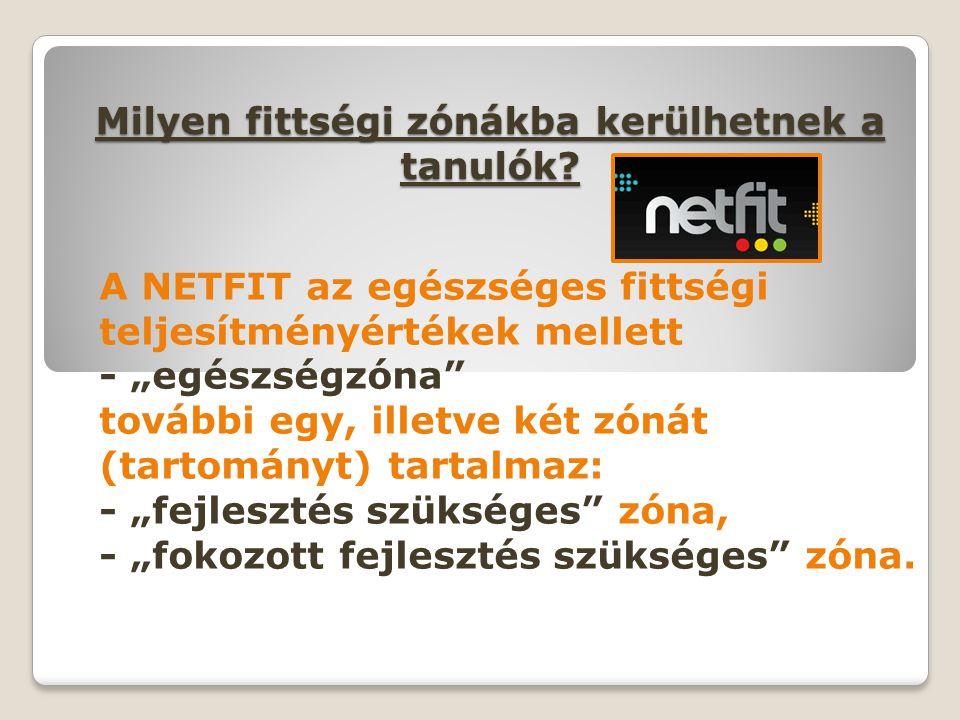 """Milyen fittségi zónákba kerülhetnek a tanulók? A NETFIT az egészséges fittségi teljesítményértékek mellett - """"egészségzóna"""" további egy, illetve két z"""