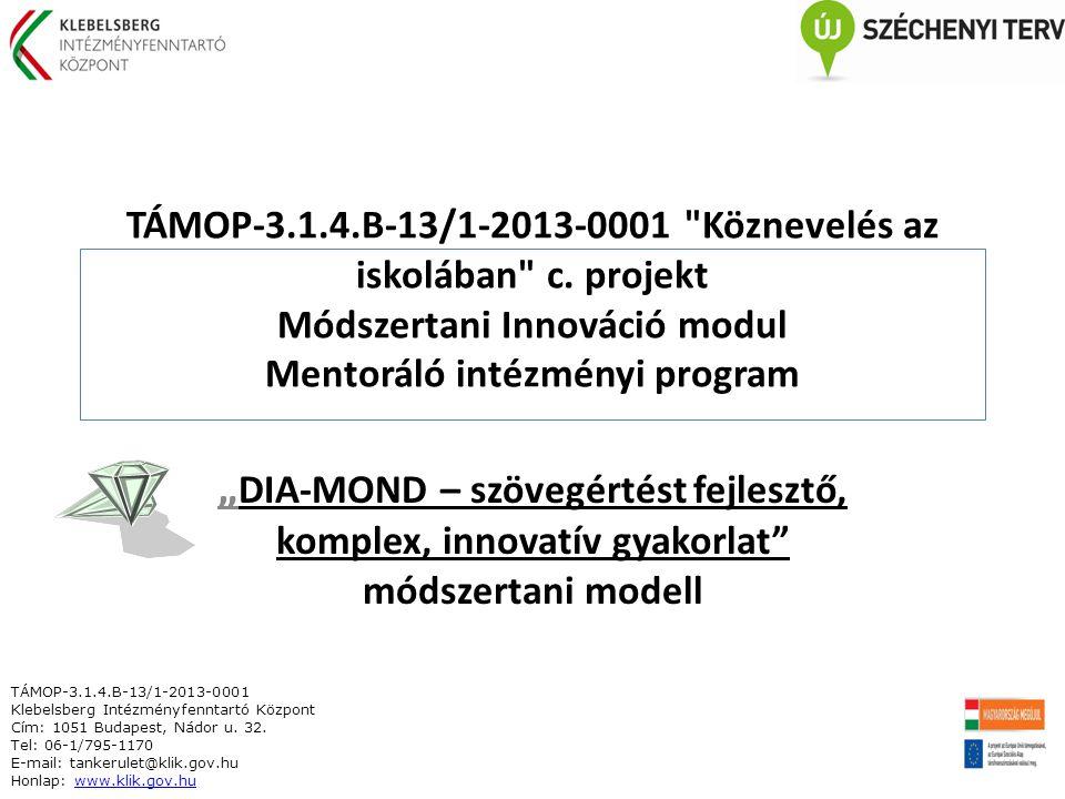 TÁMOP-3.1.4.B-13/1-2013-0001 Köznevelés az iskolában c.