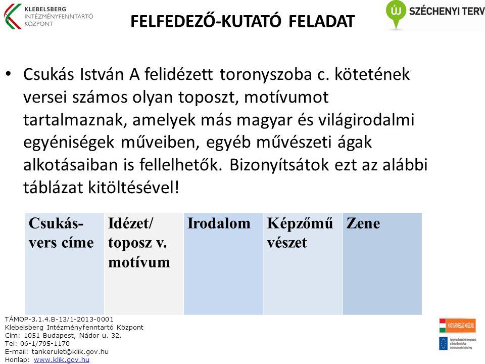 FELFEDEZŐ-KUTATÓ FELADAT Csukás István A felidézett toronyszoba c.