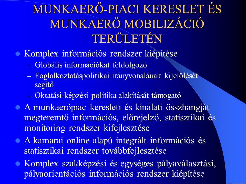 MUNKAERŐ-PIACI KERESLET ÉS MUNKAERŐ MOBILIZÁCIÓ TERÜLETÉN Komplex információs rendszer kiépítése – Globális információkat feldolgozó – Foglalkoztatáspolitikai irányvonalának kijelölését segítő – Oktatási-képzési politika alakítását támogató A munkaerőpiac keresleti és kínálati összhangját megteremtő információs, előrejelző, statisztikai és monitoring rendszer kifejlesztése A kamarai online alapú integrált információs és statisztikai rendszer továbbfejlesztése Komplex szakképzési és egységes pályaválasztási, pályaorientációs információs rendszer kiépítése