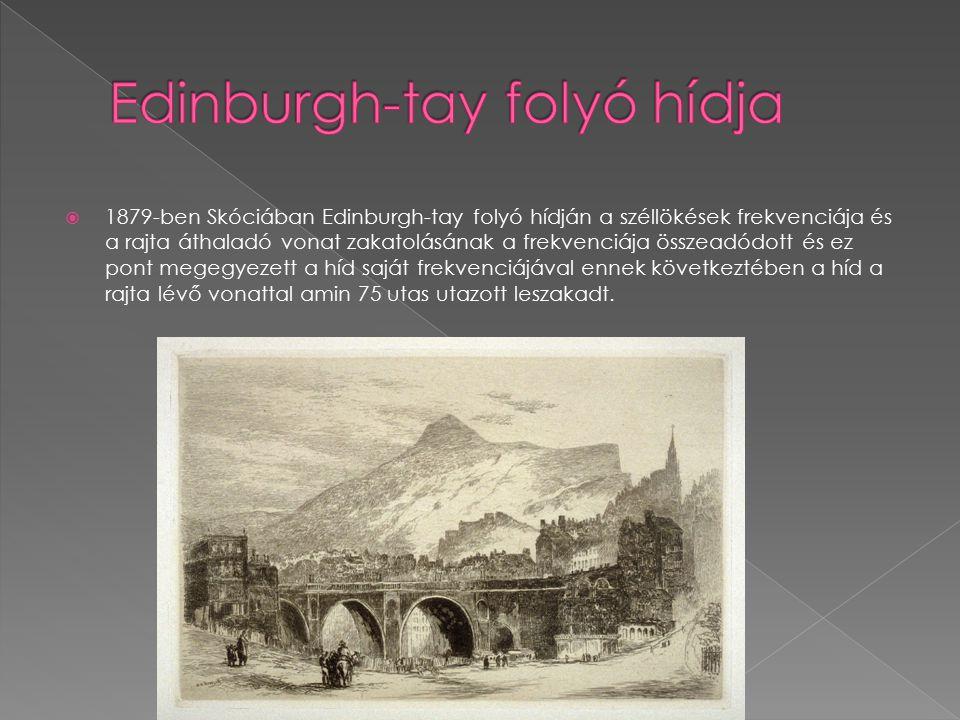  1879-ben Skóciában Edinburgh-tay folyó hídján a széllökések frekvenciája és a rajta áthaladó vonat zakatolásának a frekvenciája összeadódott és ez p