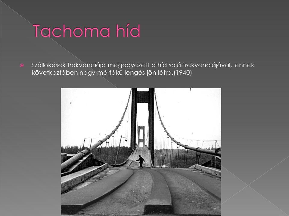  Széllökések frekvenciája megegyezett a híd sajátfrekvenciájával, ennek következtében nagy mértékű lengés jön létre.(1940)