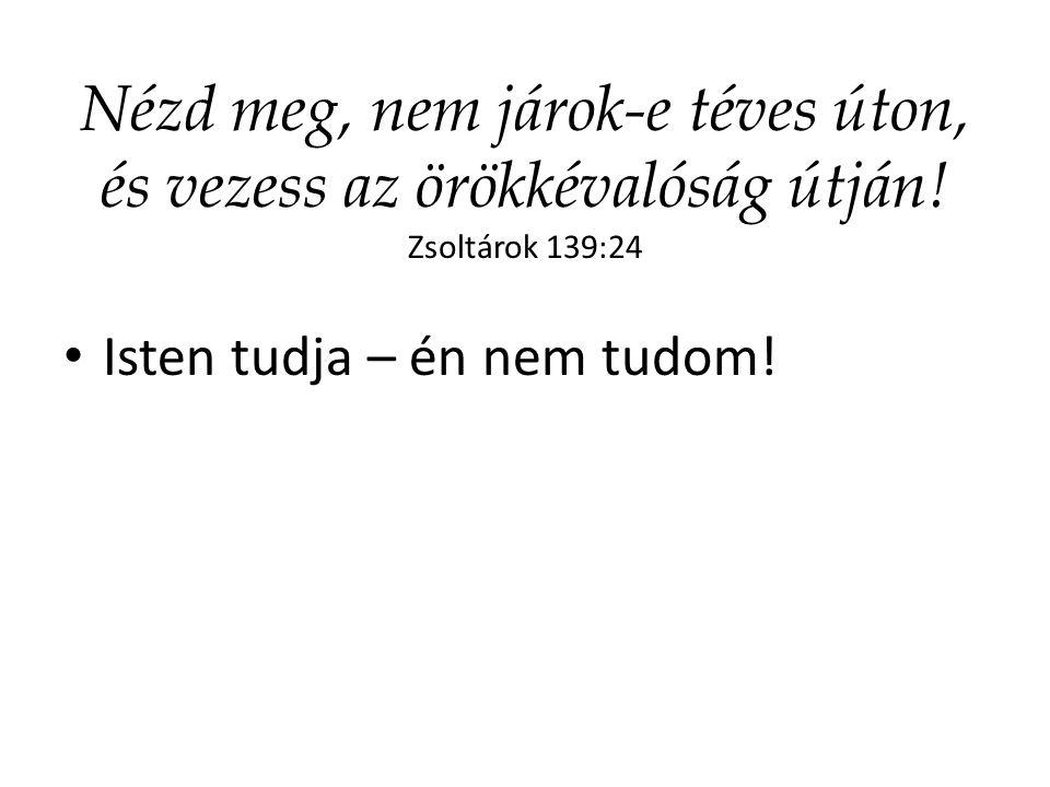 Nézd meg, nem járok-e téves úton, és vezess az örökkévalóság útján! Zsoltárok 139:24 Isten tudja – én nem tudom!