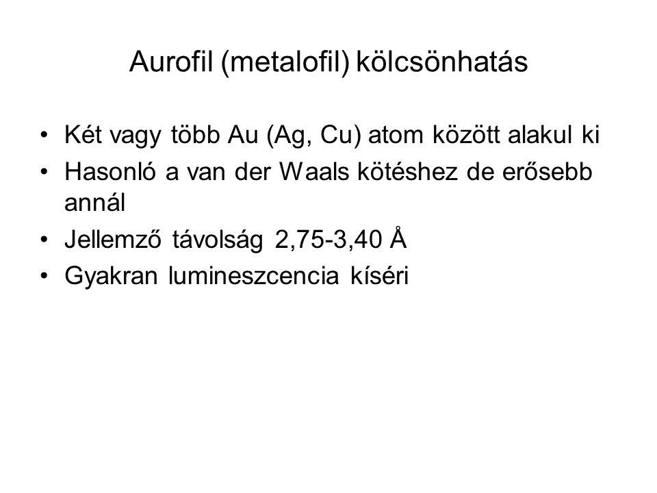Aurofil (metalofil) kölcsönhatás Két vagy több Au (Ag, Cu) atom között alakul ki Hasonló a van der Waals kötéshez de erősebb annál Jellemző távolság 2